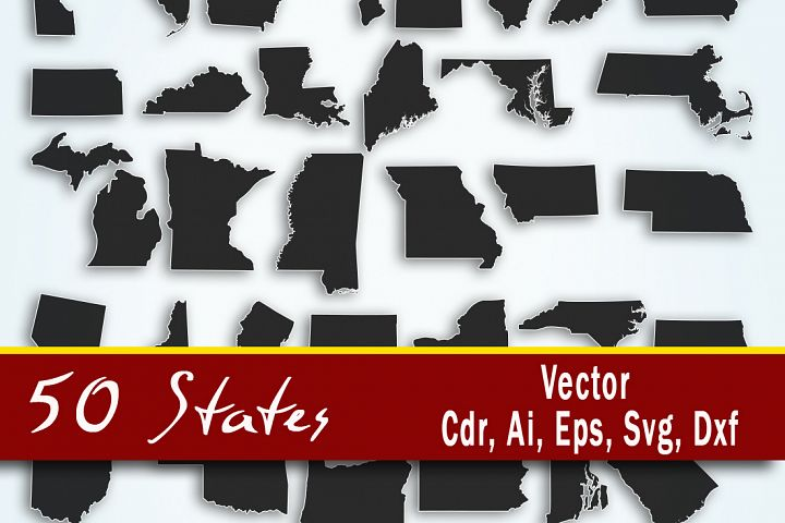 United States Vector, 50 states clip art, All Usa states - cutting files, SVG, CRD, EPS, AI, DXF