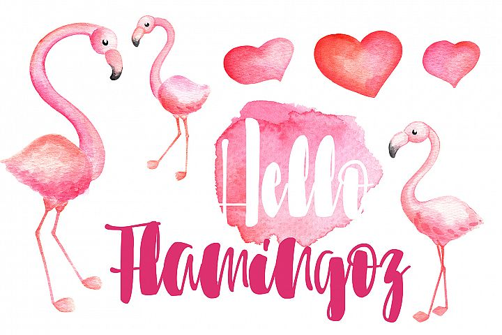 Pink Flamingo And Hearts Watercolor Clipart And Bonus