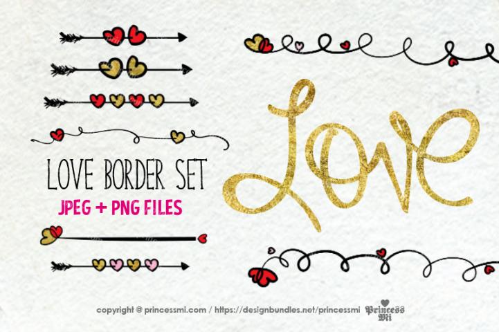 Love , love hearts border set