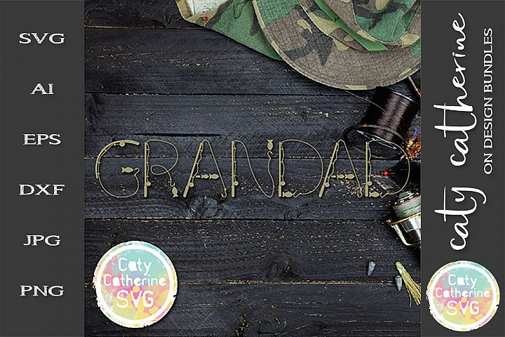 Grandad Fathers Day Fishing Lure Word Art SVG Cut File
