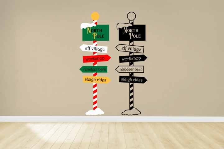 Christmas North Pole Sign Post SVG File