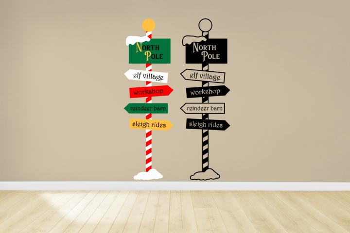 Christmas North Pole Sign Post SVG File