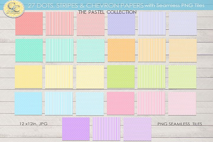 27Pastel Paper Pack of Dots Stripes Chevron Papers & Seamles