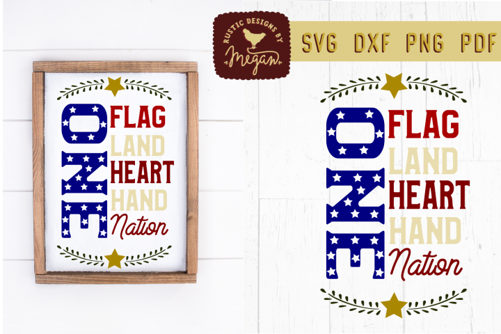 One Nation USA 4th of July American Flag DXF Cut File