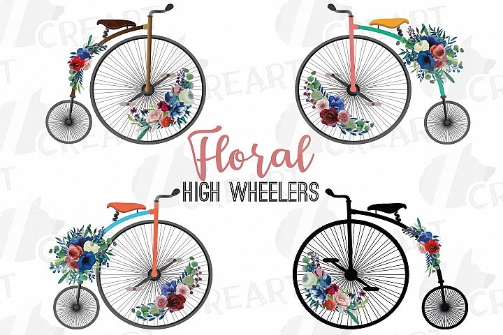 Floral vintage penny farthing decor. Floral high wheelers