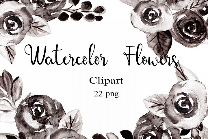 Black and White Watercolor Flowers Clipart