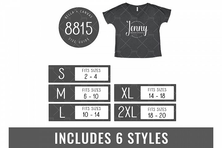Bella Canvas 8815 Tshirt Size Chart Mockup