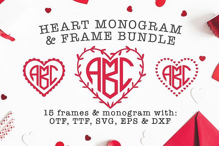 Heart Shaped Monogram with 15 Frames Bonus