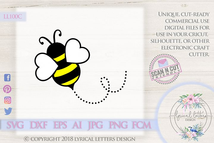Valentines Day Flying Bee SVG DXF FCM LL100C