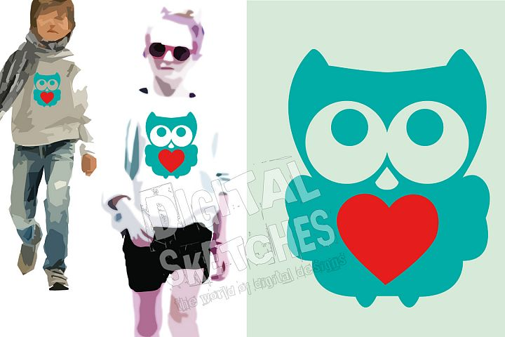 Owl Cut File, Bird Cut File, Owl SVG, Heart Vector, Cricut