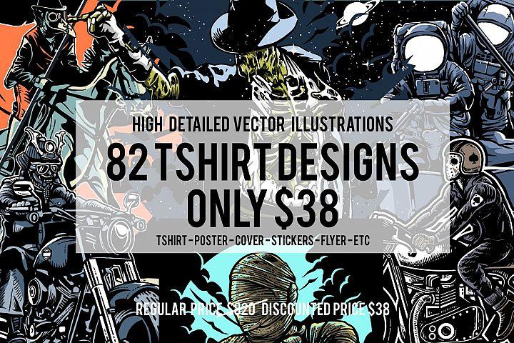 82 Tshirt Designs Bundle