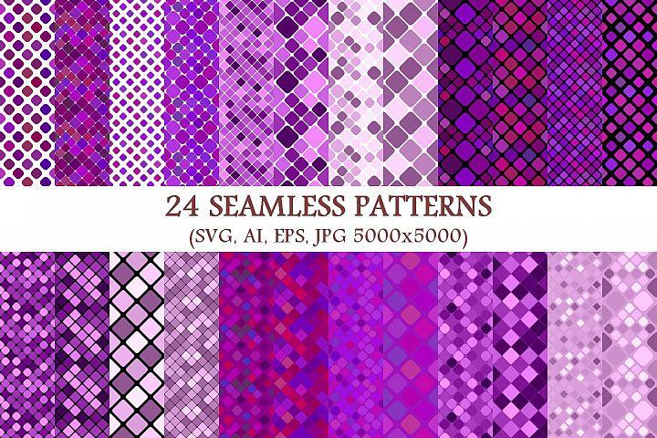 24 Seamless Purple Square Patterns