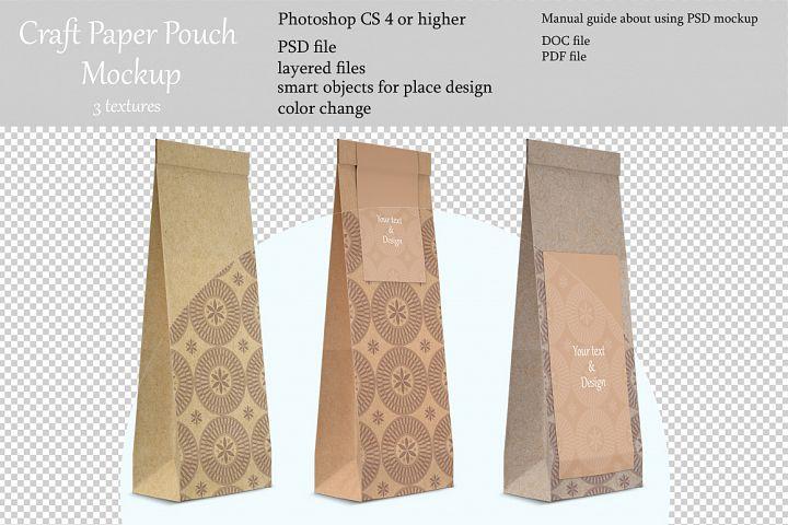 Craft paper pouch mockup. PSD mockup. PSD object mockup.