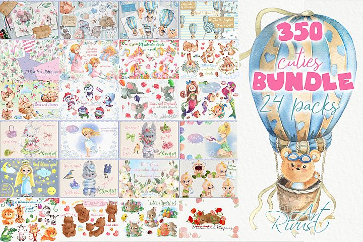 350 Clip art Bundle Cute watercolor animals clipart kitten b