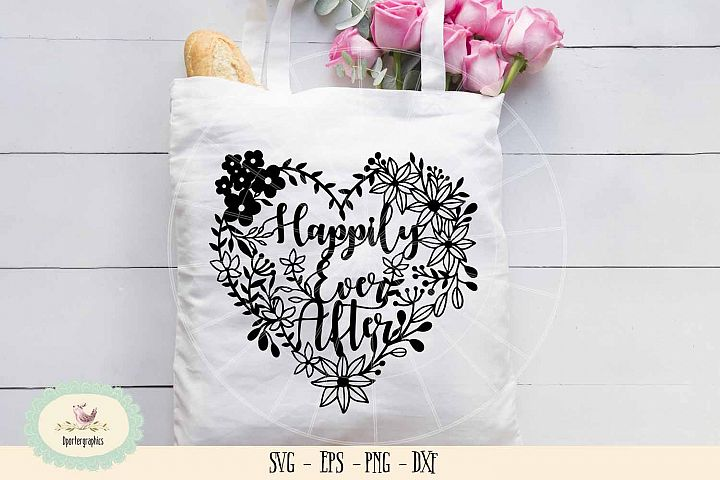 happily ever after heart wedding paper cut SVG PNG