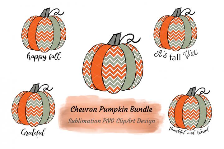 Fall Pumpkins Bundle Sublimation PNG Orange Sage Chevrons
