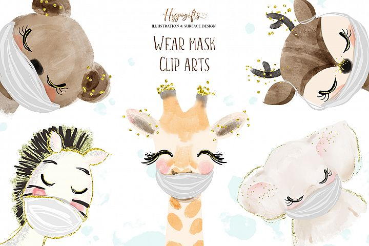 Watercolor animals wear face mask illustration,Face mask