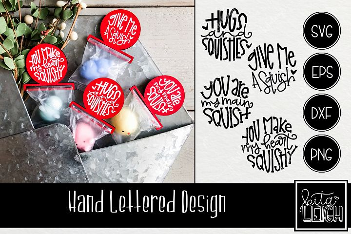 Valentines Day Hand Lettered Squishy Rounds SVG