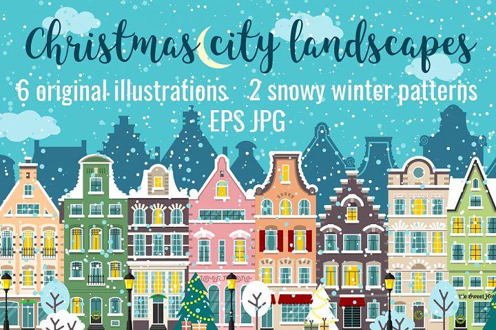 Christmas city street landscapes