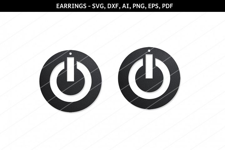 Power button earring svg,Abstract earrings svg,Cricut files