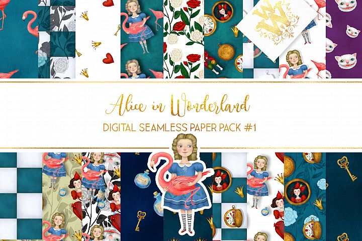 Alice in Wonderland digital paper pack, chess board roses