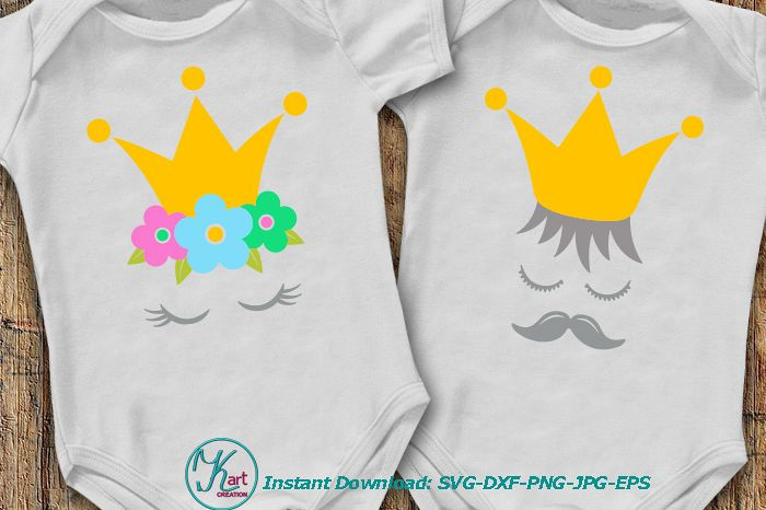 Prince Princess crown face eyelashes mustaches svg dxf png
