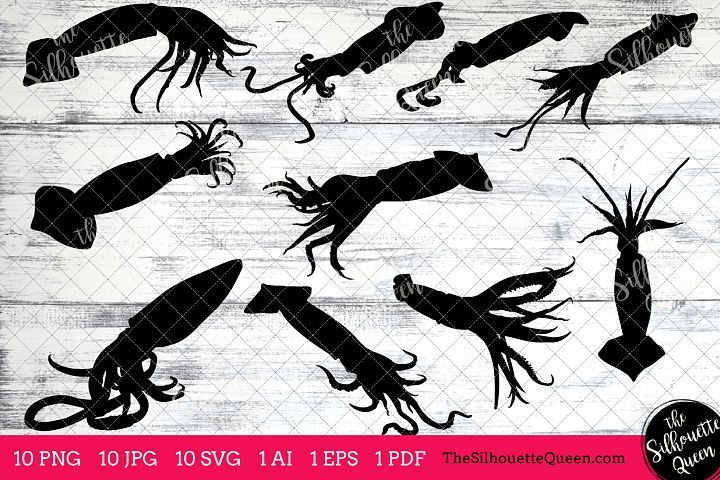 Squid Silhouette Clipart Clip Art (AI, EPS, SVGs, JPGs, PNGs, PDF) , Squid  Clip Art Clipart Vectors - Commercial and Personal Use
