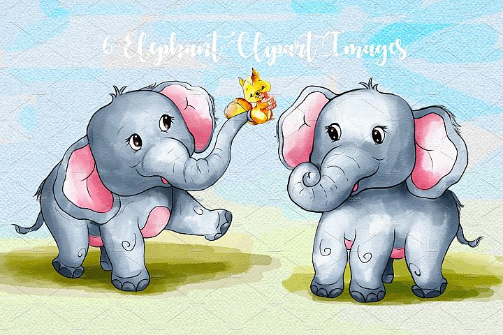 Cute Elephant Clipart Images by Whimseez