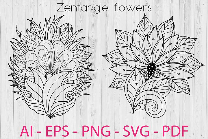 Zentangle Flowers SVG files