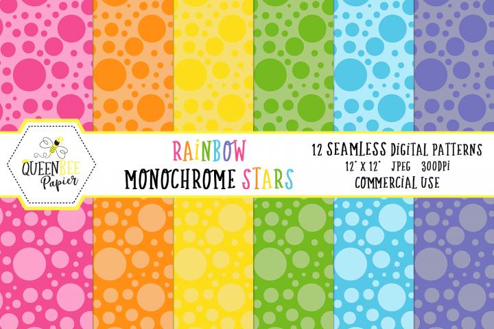 Rainbow Monochrome Dots Seamless Digital Patterns