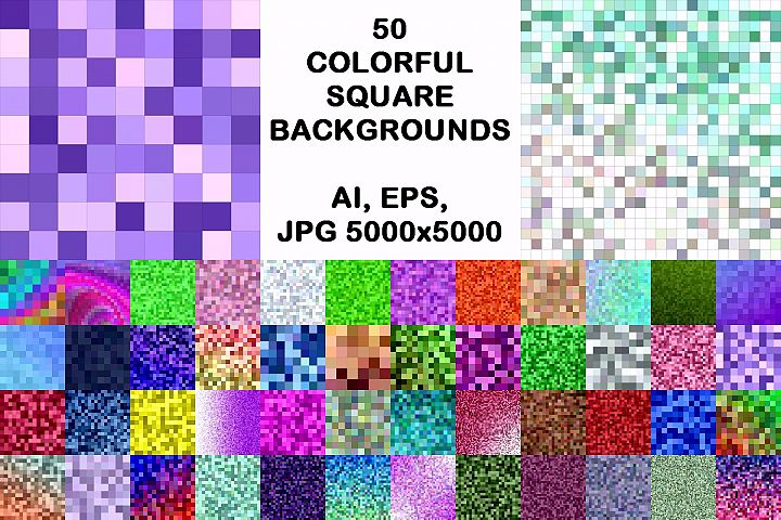 50 colorful square backgrounds (AI, EPS, JPG 5000x5000)