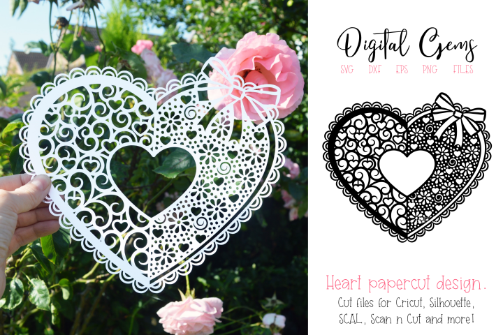 Love heart paper cut design. SVG / DXF / EPS / PNG files