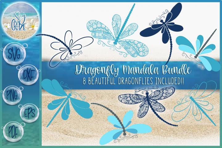 Dragonfly Mandala Zentangle Bundle Svg Dxf Eps Png Pdf Files