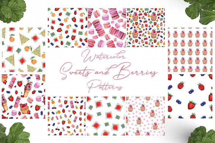 Watercolor Sweets and Berries Patterns