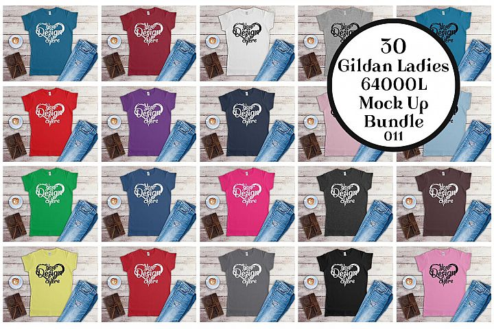 Gildan Ladies T-Shirt Mockup Bundle Flat Lay