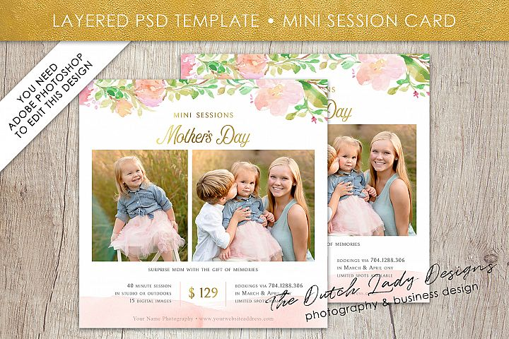 PSD Photo Mothers Day Mini Session Card Template - #41