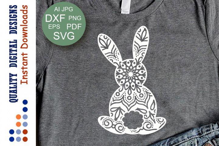 Zentangle Bunny svg Happy Easter mandala