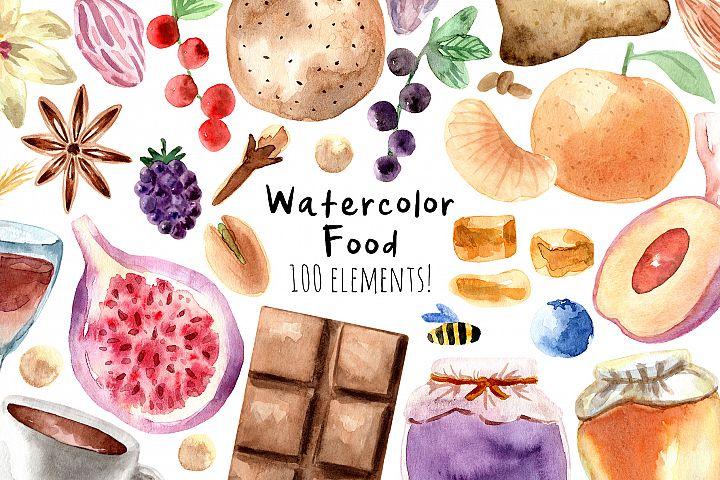 Watercolor Food. 100 Cliparts!