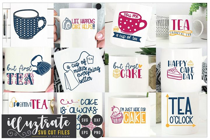 Tea and Cake Quote Bundle - SVG Cut Files - Cake DXF