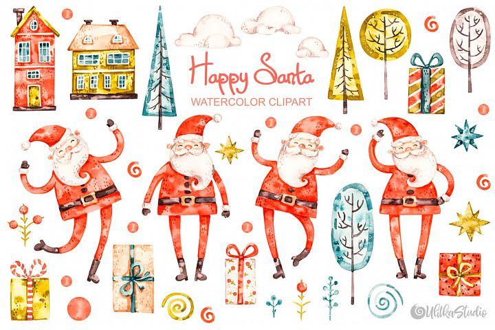 Happy Santa Claus. Christmas watercolor clipart