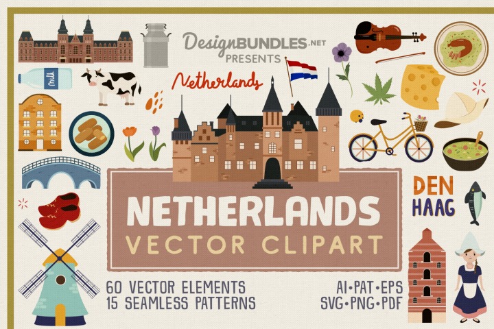 Netherlands Vector Clipart and Seamless Pattern