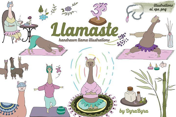 Llamaste - Llama Clipart - Yoga, Namaste Vector Illustration