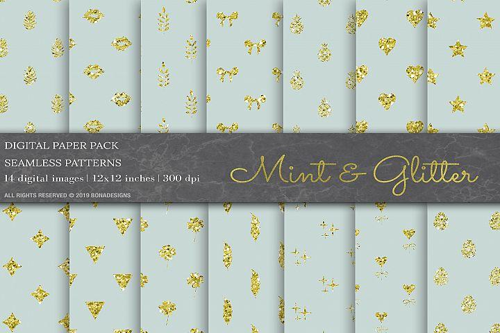 Mint Glitter Geometric Pattern, Wedding Digital Papers