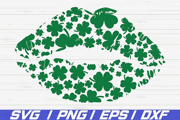 Kiss with clover SVG / St. Paddys Day SVG / Cricut / Vector
