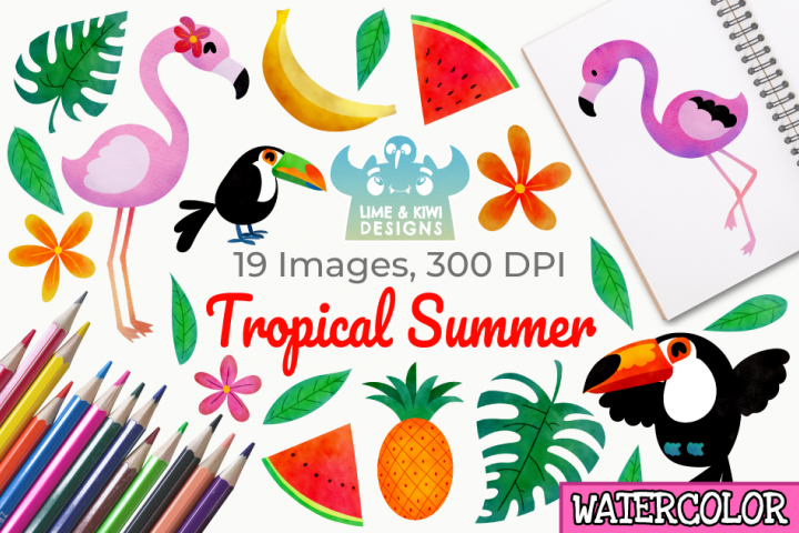 Tropical Summer Watercolor Clipart, Instant Download