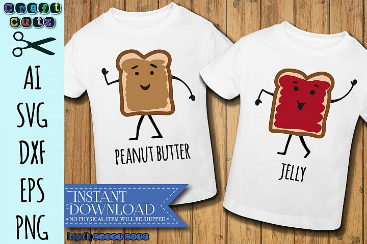Peanut Butter and Jelly SVG, Best Friends, Matching Shirts