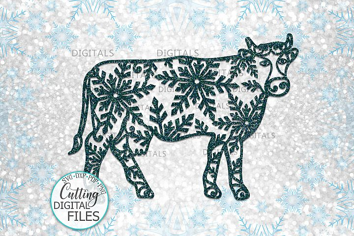 Christmas Cow with snowflakes svg paper cut laser cut file