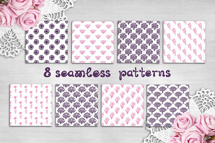 8 Mothers Day patterns & textures | SVG EPS AI JPEG PNG PSD