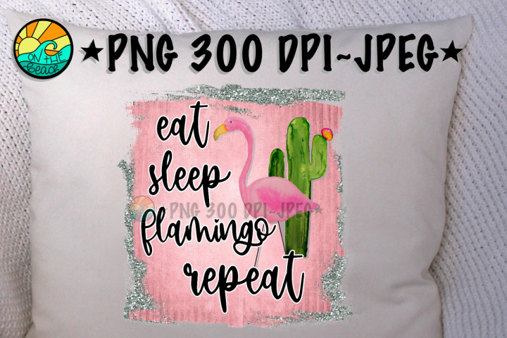 Eat Sleep Flamingo Repeat - Glitter - PNG for Sublimation