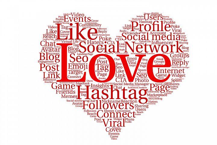 Heart Shape, social media network concept.